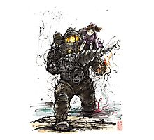 Bioshock Subject Delta with Little Sister sumi style Photographic Print
