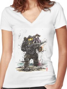 Bioshock Subject Delta with Little Sister sumi style Women's Fitted V-Neck T-Shirt