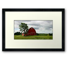 Rustic Red Barn and Verdant Green Fields Framed Print