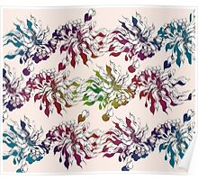 floral seamless pattern with hand drawn flowering crocus Poster