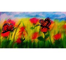 Butterflies to chase,watercolor Photographic Print