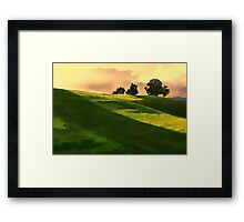 Vibrant Rolling Green Fields at Sunset Framed Print
