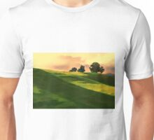 Vibrant Rolling Green Fields at Sunset Unisex T-Shirt