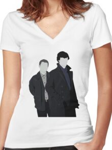 Sherlock and John Women's Fitted V-Neck T-Shirt
