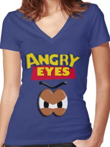Angry Eyes Women's Fitted V-Neck T-Shirt