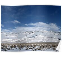 Blue Sky And White Mountains Poster