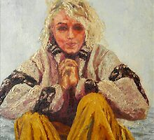 Marilyn inspired by images from her final photo shoot -oil 1973  by Mike Burns