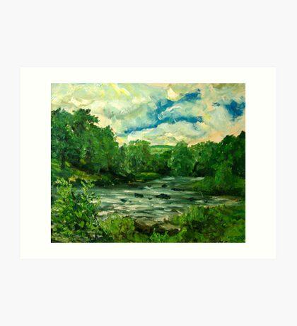 Oil sketch -River Usk at Crickhowell, South Wales Art Print