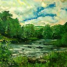 Oil sketch -River Usk at Crickhowell, South Wales by Mike Burns