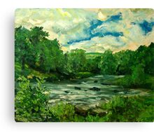 Oil sketch -River Usk at Crickhowell, South Wales Canvas Print