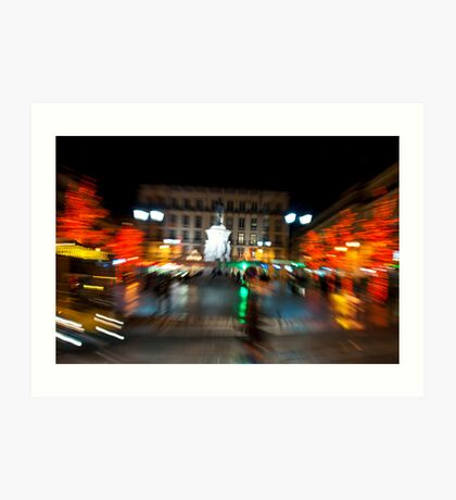 Lisbon downtown during Christmas Art Print