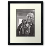 Grandpa with puppy Framed Print