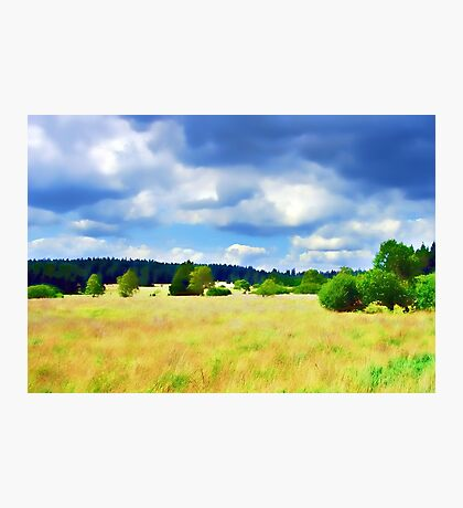 Open Field Clouded Sky Photographic Print