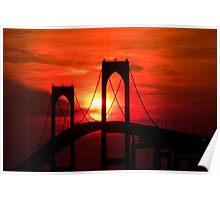 Newport (Pell) Bridge Silhouette Poster