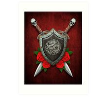 Shield with Chinese Dragon, Roses and Crossed Swords on Red Art Print