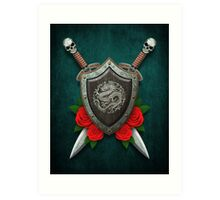 Shield with Chinese Dragon, Roses and Crossed Swords on Blue Art Print