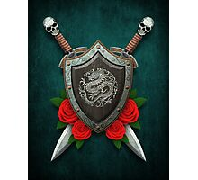 Shield with Chinese Dragon, Roses and Crossed Swords on Blue Photographic Print