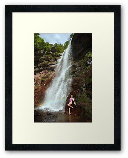 Young sexy beautiful girl stands at nature waterfall location 1 by Anton Oparin