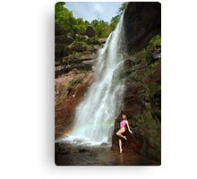 Young sexy beautiful girl stands at nature waterfall location 1 Canvas Print