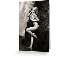 Young sexy beautiful girl stands at nature waterfall location 2 Greeting Card