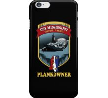 SSN-782 USS Mississippi Plank Owner Crest for Dark Colors iPhone Case/Skin