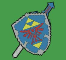 8-Bit Master Sword and Shield by WUVWA