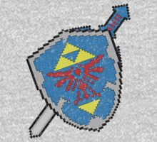 8-Bit Master Sword and Shield One Piece - Long Sleeve