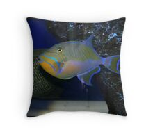 Electric Blue and Gold Throw Pillow