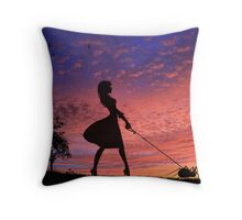 Walking With My Baby On Sunset Throw Pillow