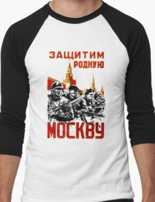 World War II Propaganda Poster – Soviet Men's Baseball ¾ T-Shirt