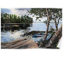 "Original oil painting: ""Dusk at Wallis Lake"" - Forster, NSW, Australia Poster"