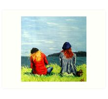 Two Girls looking to sea Art Print