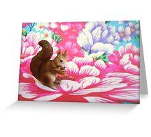 Squirrel. Flower. Greeting Card