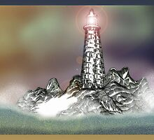Lighthouse and Rocks, Waves Crashing by Grant Wilson