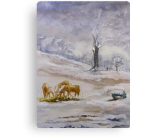 Palominos in Snow Canvas Print