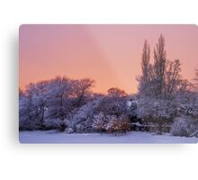 Snow Scene at Sunrise Metal Print