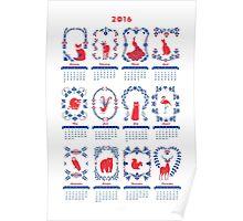 Folk Animal Calendar 2016 - Poster Poster