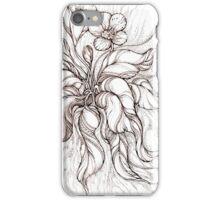 Bridal Bouquet.Hand drawn watercolor and brown ink drawing  iPhone Case/Skin