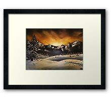 'Winter Sunset' Oil Painting Framed Print