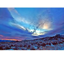 Desert Sunrise with snow Photographic Print