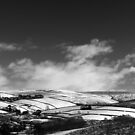 Snowy Patchwork, Bray Clough, Glossop (b&w) by Mark Smitham