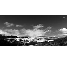 Snowy Patchwork, Bray Clough, Glossop (b&w) Photographic Print