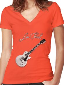 Gray Les Paul  Women's Fitted V-Neck T-Shirt