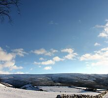 Low wall and impossibly blue sky by Mark Smitham