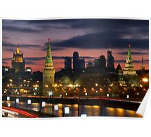 Moscow, Russia, night view on Kremlin Poster