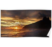 Sunset at Ipanema Beach Poster