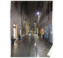 Cobblestone street in Ferrara, Italy Poster