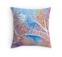 Sensō-ji - Japanese Temple - Nature Landscape Watercolor  Throw Pillow