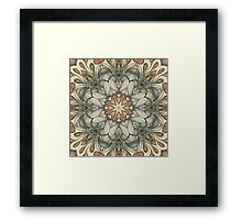 abstract flowers hand drawn and  kaleidoscope mandala Framed Print