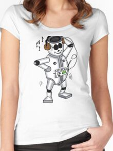 retro robot -the groover t-shirt Women's Fitted Scoop T-Shirt